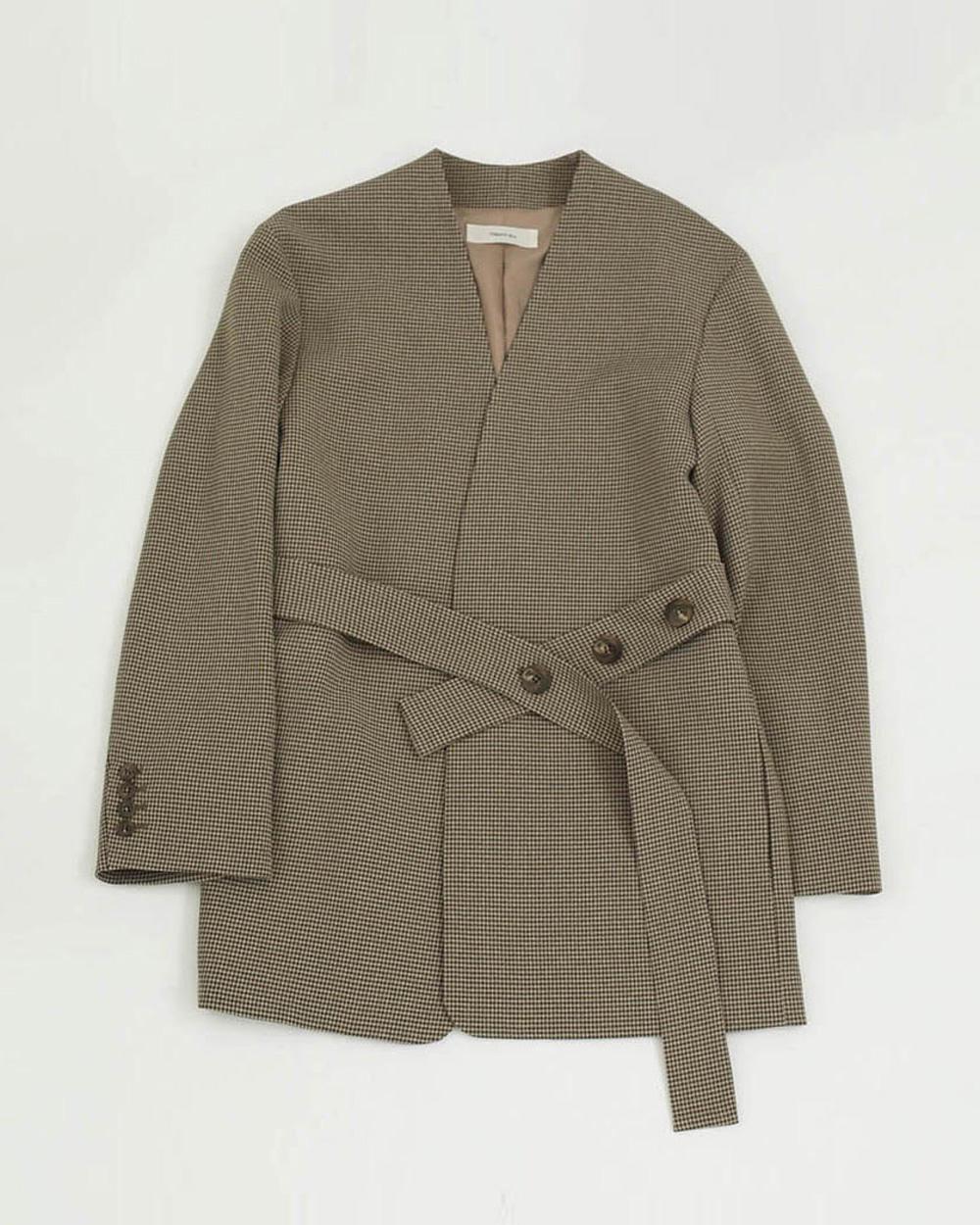 Collarless Belt Jacket